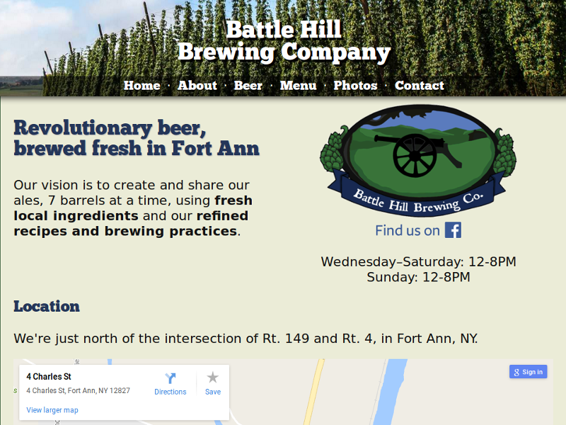 A screenshot of Battle Hill Brewing Company