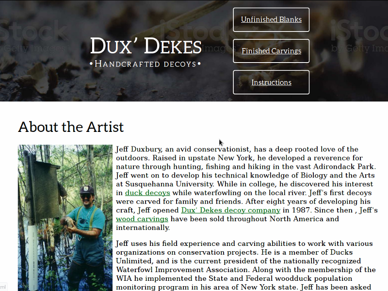 "A development image of the ""About the Artist"" page of the Dux' Dekes e-commerce website."