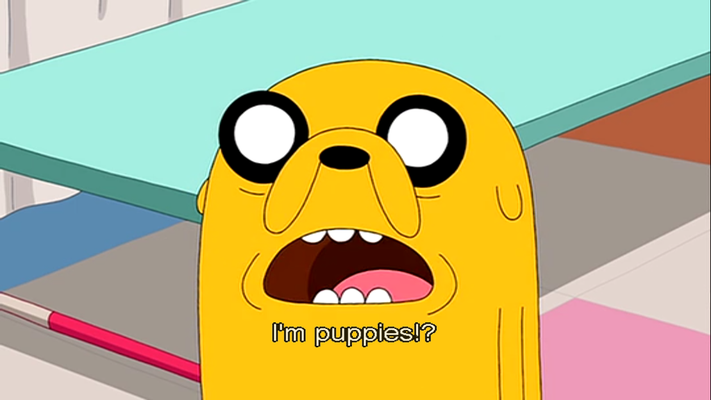 A screenshot of Jake the Dog, from Adventure Time, Season 4, Episode 19, 'Lady & Peebles'.